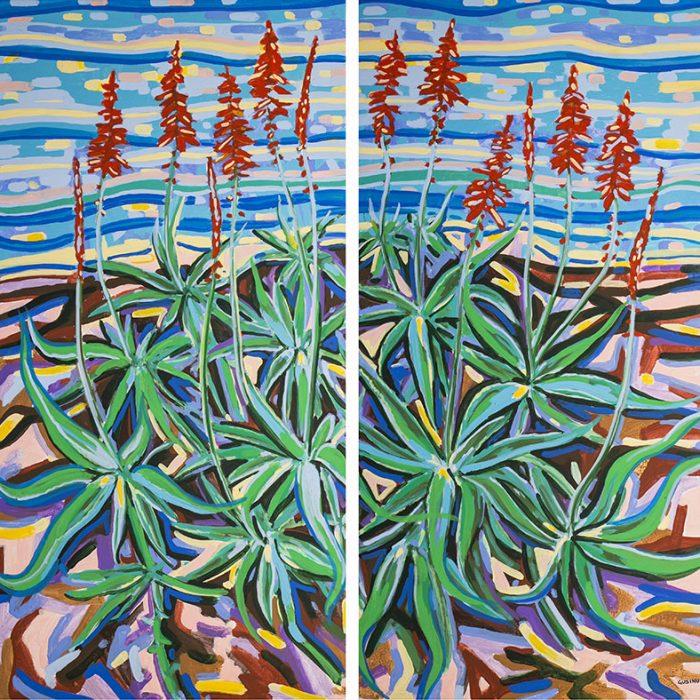 Aloe Dittico | Acrilico su tela 100x100