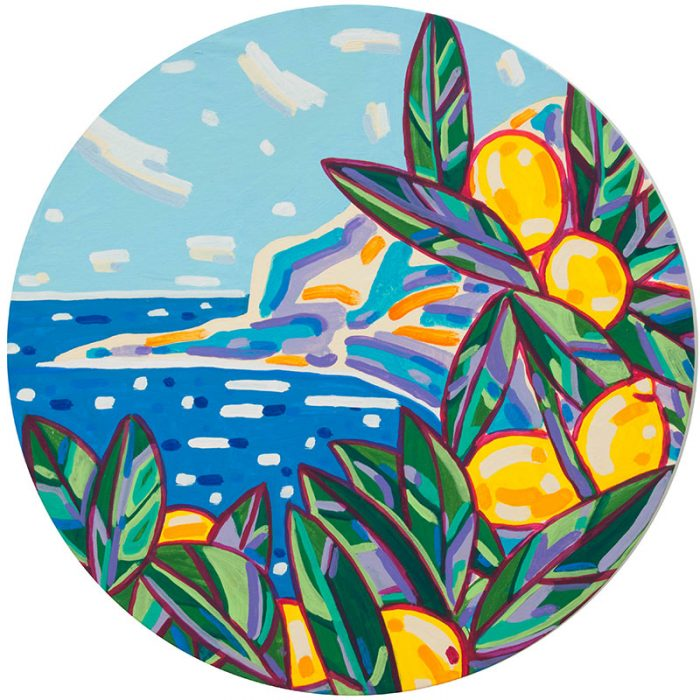Limoni alle 5 terre | Acrilico su tela Diametro 100